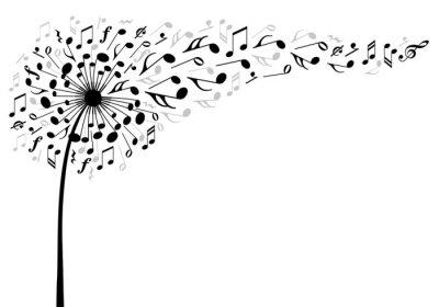Poster Musik Löwenzahn Blume, Vektor-Illustration