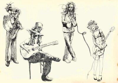 Poster Musiker - Sammlung von Handzeichnungen in den Vektor