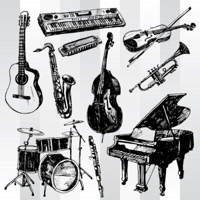 Poster Musikinstrumente Hand gezeichnet