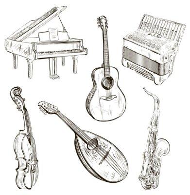 Poster Musikinstrumente in Skizze Stil