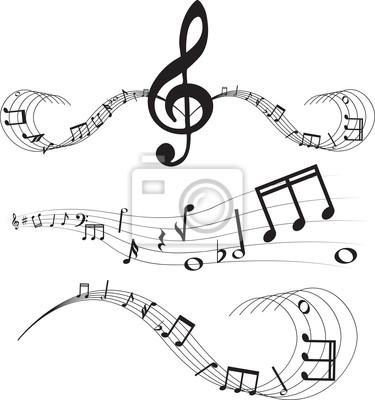 Musiknoten auf Notensysteme