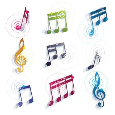 Poster Musiknoten Symbole gesetzt.