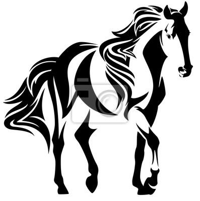 Mustang Pferd Schwarz Weiß Vektor Design Wandposter Poster