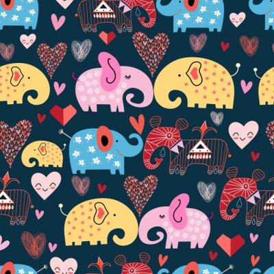 Poster Muster der Elefanten in den Wolken