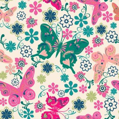 Poster Muster der Schmetterlinge und Blumen-Abbildung