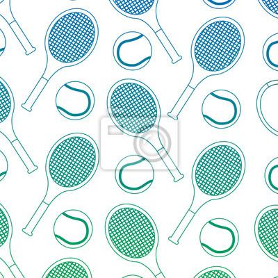 Poster Muster-Vektorillustration des Tennisballschläger-Sports nahtlose