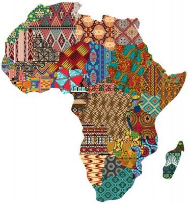 Poster Muster-Vektorkarte des abstrakten Afrika-Patchworks traditionelle Gewebemuster