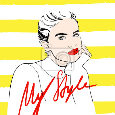 Poster My style poster. Fashion woman sketch woman in sweater with red lips. Beautiful woman face on yellow striped background. Hand drawn girl model. Fashion sketch. Vector illustration. Style, beauty