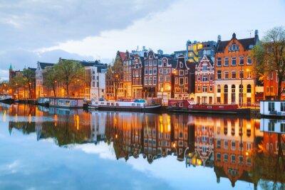 Poster Nacht Blick auf Amsterdam, Niederlande City