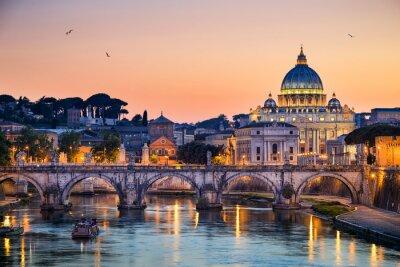 Poster Nachtansicht der Basilika St. Peter in Rom, Italien