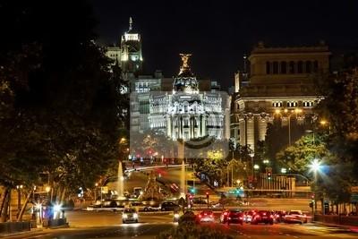 Nachtansicht der Plaza de Cibeles in Madrid, Spanien