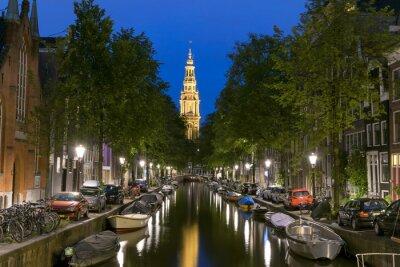 Poster Nachtansicht der Zuiderkerk in Amsterdam