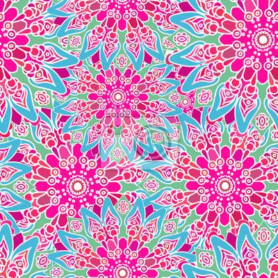 poster nahtlose bunte muster orientalischen stil stoff oder tapeten textur ethnische mandala formen - Tapete Orientalisches Muster