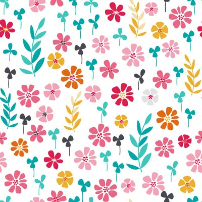 Poster Nahtlose helle skandinavischen Blumenmuster