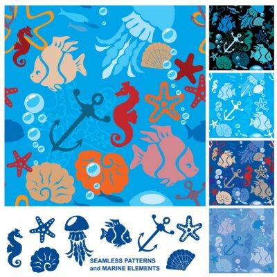 Poster Nahtlose Hintergrund mit Marine Life