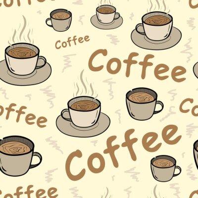 Poster Nahtlose Kaffee mit Dampf