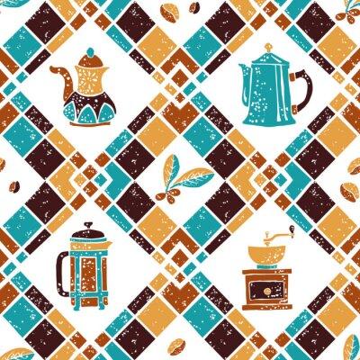 Poster Nahtlose Muster Argyle und Kaffeemaschinen