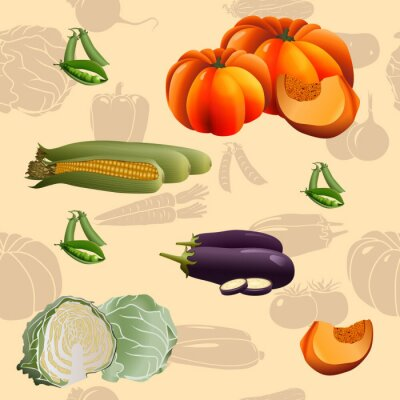 Poster Nahtlose Muster Gemüse: Mais, Kürbis