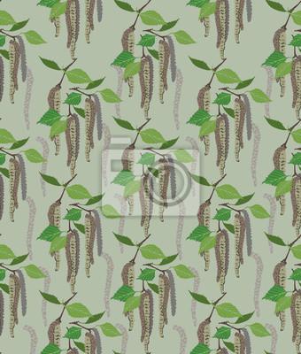 nahtlose Muster Hintergrund aus Birkenkätzchen