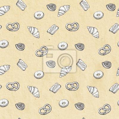 Nahtlose Muster Hintergrund Skizze der Bäckerei Produkte - Croissant, Puff, Donut, Brötchen, Brezel (Brezeln) Design-Element für für Textilien, Werbung, Broschüren, Menü