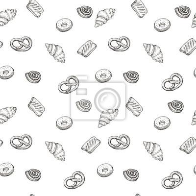 Nahtlose Muster Hintergrund Skizze von Bäckereiprodukten - Croissant, Puff, Donut, Brötchen, Brezel (Brezeln) Design-Element für für Textilien, Werbung, Broschüren, Menü auf weiß