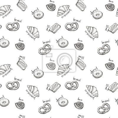 Nahtlose Muster Hintergrund Skizze von Backwaren - Croissant, puff, Krapfen, Brötchen, Brezel (Brezeln) mit Design-Element-Schriftzug für für Textilien, Werbung, Broschüren, Menü auf weißem