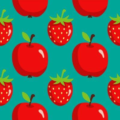 Poster Nahtlose Muster mit Erdbeeren und Äpfeln