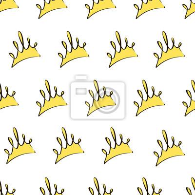 Poster Nahtlose Muster mit gelben Kronen auf einem weißen Hintergrund, Vektor-Illustration.