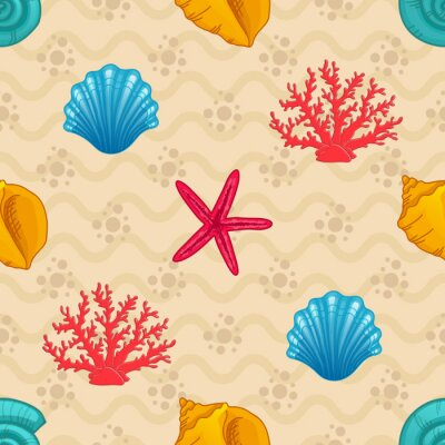 Poster Nahtlose Muster mit Muschel