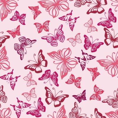 Poster Nahtlose Muster mit Silhouetten von Schmetterlingen