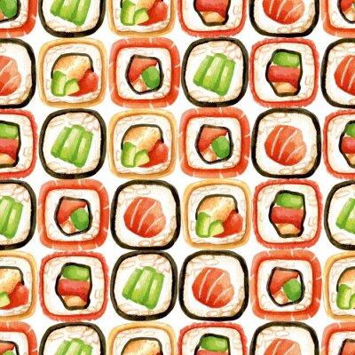 Poster Nahtlose Muster mit Sushi-Rollen