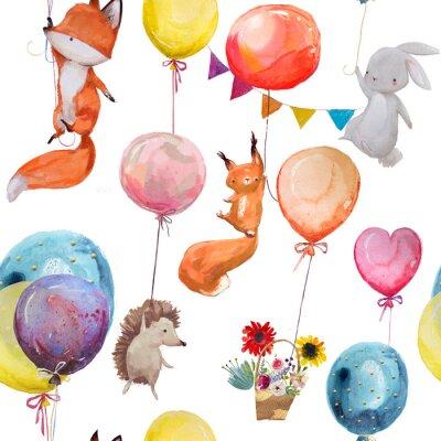 Poster Nahtlose Muster mit Tieren mit Luftballons