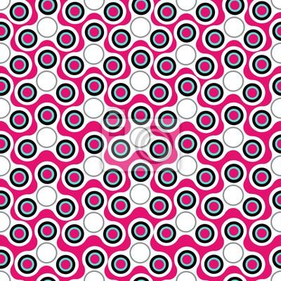 Poster Nahtlose Muster mit weißen oder rosa fidget Spinner. Vektor Hand gezeichnet Mode Illustration auf rosa Hintergrund.
