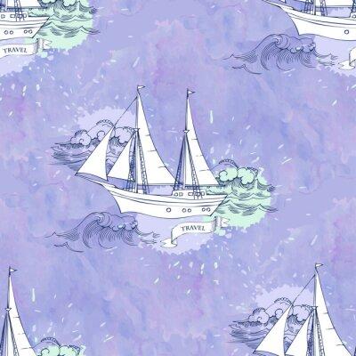 Poster Nahtlose Patt Wellenschiffe