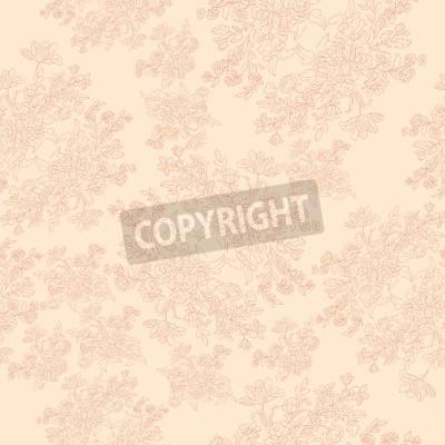 Poster nahtlose Retro-Muster mit Rokoko-Blumen, Shabby Chic-Motiv