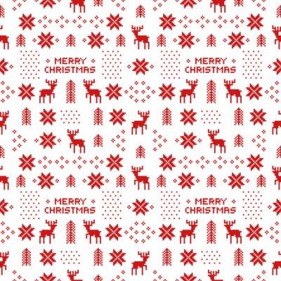 Poster Nahtlose retro rot Weihnachten Muster mit Hirschen, Bäumen und Schneeflocken