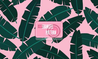 Poster Nahtlose tropischen Muster mit Bananenblättern. Zusammensetzung der grünen Palme Bananenblatt auf einem hellrosa Hintergrund. Drucken Sommer nahtlose Vektor Muster Tapete. Vektor-Illustration.