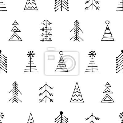 Weihnachtsbaum Schwarz Weiß.Poster Nahtlose Vektor Muster Mit Weihnachtsbaum Schwarz Und Weiß Winter