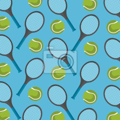 Poster nahtloser Mustertennisball und Schläger desing Vektorillustration