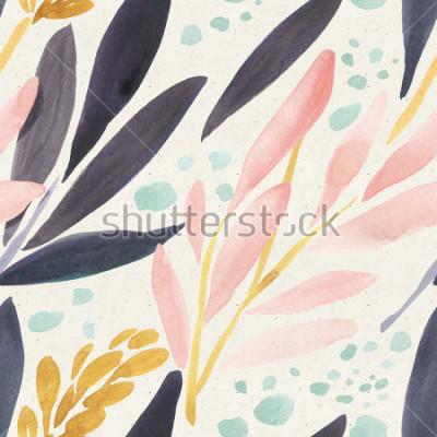 Poster Nahtloses Aquarellmuster auf Papierbeschaffenheit. Blumenhintergrund