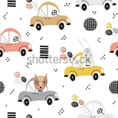 Poster Nahtloses Babymuster mit nettem Fuchs, Kaninchen im Auto. Kreative Kinderbeschaffenheit für Gewebe, Gewebe, Tapete und Verpackung. Vektor-illustration