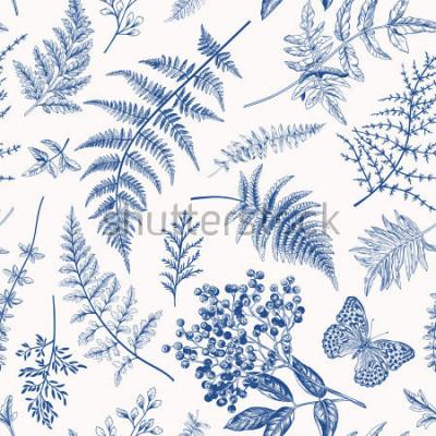 Poster Nahtloses mit Blumenmuster in der Weinleseart. Verschiedene Blätter von Farnen, Beeren und Schmetterlingen. Vektor botanische Illustration. Blau.