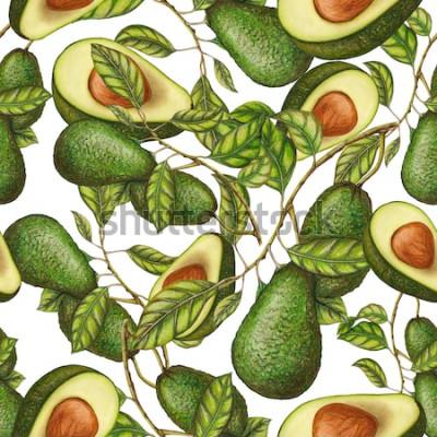 Poster Nahtloses Muster der Hand gezeichneten Avocado