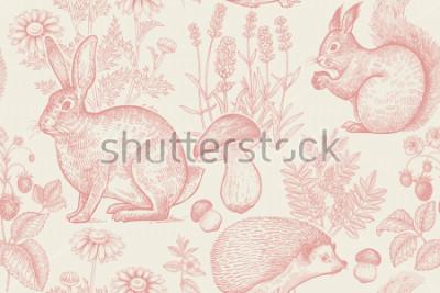 Poster Nahtloses Muster der Waldtiere und -pflanzen. Hase, Igel, Eichhörnchen, Beeren Erdbeere, Blumen Lavendel, Kamille und Pilze. Handzeichnung. Weiß und Rot. Vintage Gravur. Vektor-Illustration