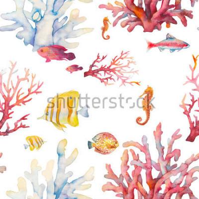 Poster Nahtloses Muster des Aquarellkorallenriffs. Hand gezeichnetes realistisches Hintergrunddesign: tropische Fische, Korallen, Seepferdchen auf weißem Hintergrund. Natürliches wiederholendes Beschaffenhei