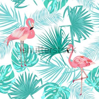 Poster Nahtloses Muster des Flamingos, lässt Monstera. Tropische Blätter der Palme und der Blumen. Vektor Hintergrund.