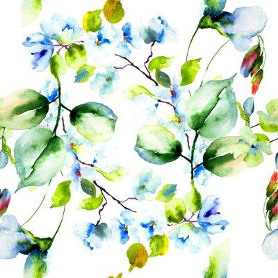 Poster Nahtloses Muster mit Frühlingsblumen