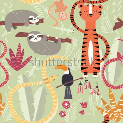 Poster Nahtloses Muster mit netten Regenwaldtieren, Tiger, Schlange, Faultier, Vektorillustration