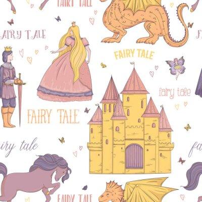 Poster Nahtloses Muster mit Prinzen, Prinzessin, Schloss, Drache, Fee, Pferd. Märchen-Thema. Isolierte Objekte. Vintage Vektor-Illustration