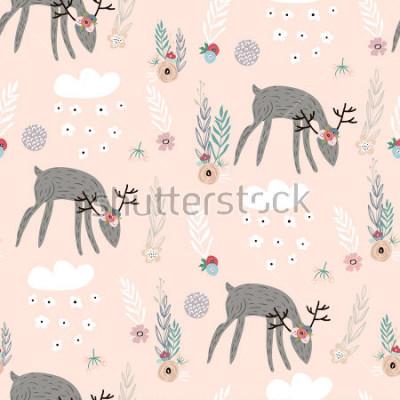 Poster Nahtloses Muster mit Rehen, Florenelementen, Niederlassungen. Kreativer Waldhintergrund. Vervollkommnen Sie für Kinderkleid, Gewebe, Gewebe, Kinderzimmerdekoration, Packpapier. Vektor-Illustration